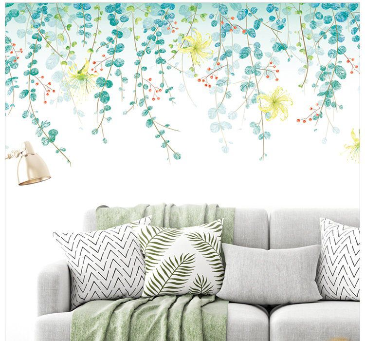 hanging twig leaf living room decal nature home decor on wall stickers for home id=48956