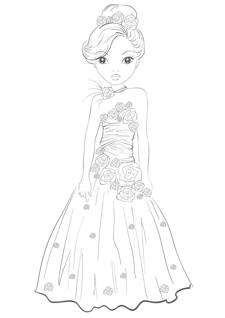 Topmodel Ausmalbilder Kleid Zeichnung Prinzessin Zeichnungen