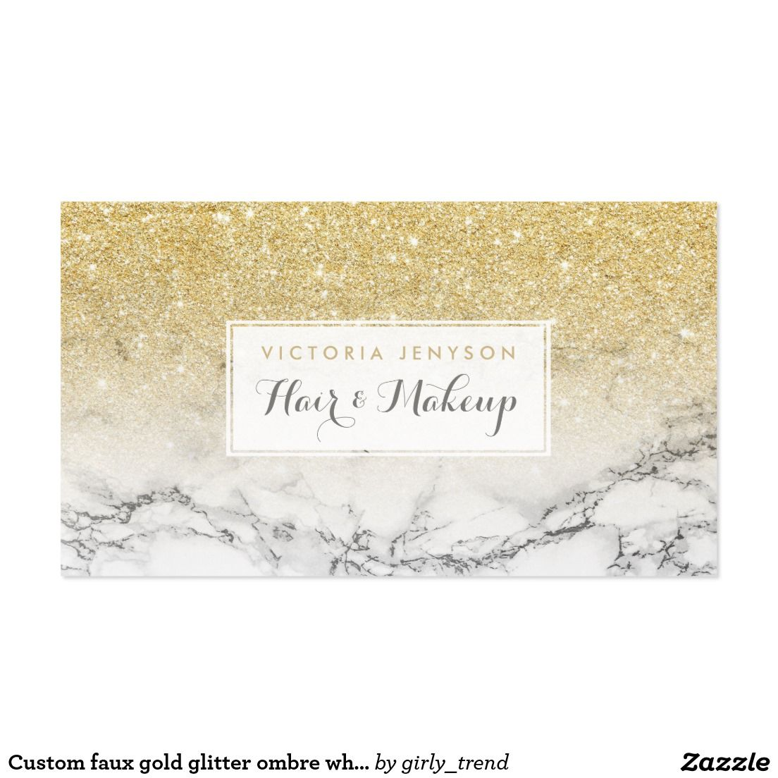 Custom faux gold glitter ombre white marble makeup business card custom faux gold glitter ombre white marble makeup business card reheart Image collections