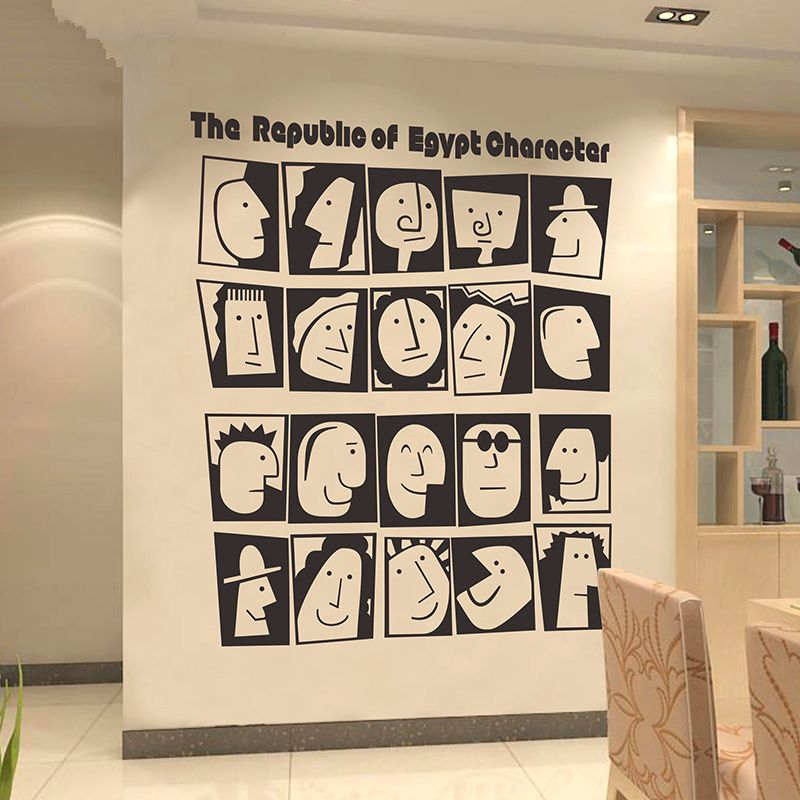 Large Egypt Culture Character Wall Stickers Creative Office Bedroom Study Room
