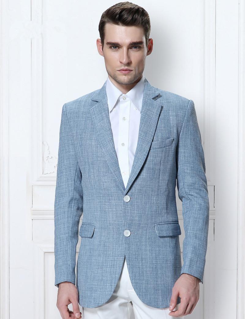 Latest Coat Pant Designs Light Blue Linen Custom Wedding Suits For ...