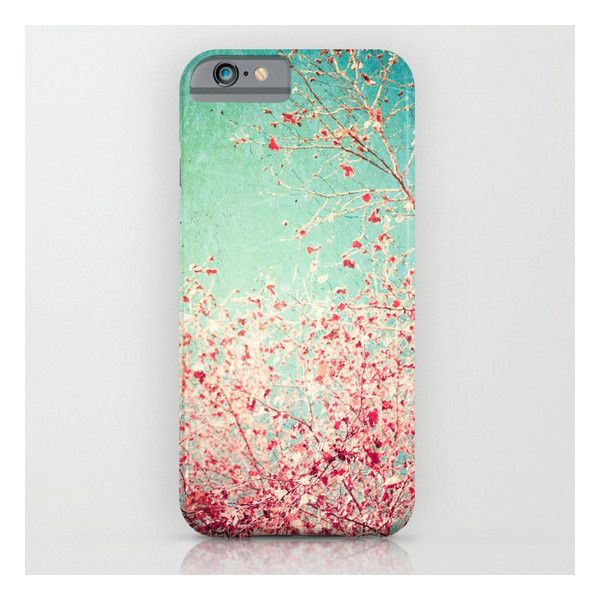 Blue Autumn, Pink Leafs On Blue, Turquoise, Green,… iPhone 6s Case (€30) ❤ liked on Polyvore featuring accessories, tech accessories and iphone & ipod cases