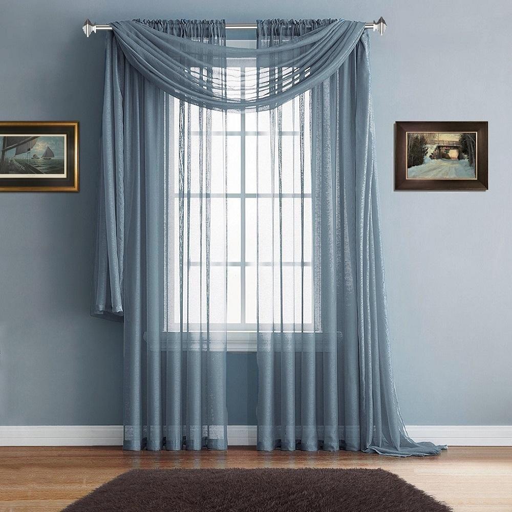 Warm home designs premium sheer slate blue window scarves or rod pocket sheer slate blue curtains