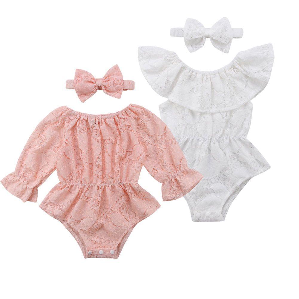 40495069fcb4 2PCS Newborn Kids Baby Girls Pink White Lace Floral Romper+Headband Bodysuit  Jumpsuit Outfits