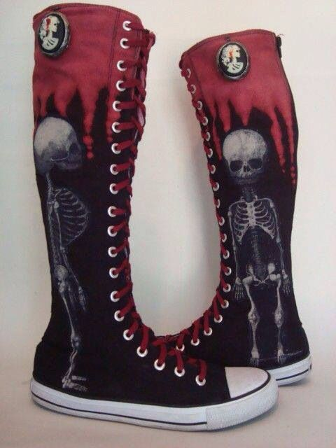 c5e9f18c8370e6 Knee high black and red converse with skeleton design.