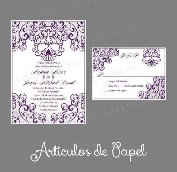 elegant lace skull calavera invitation card wedding invitation
