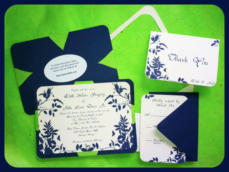 my dyi invitations. navy & lime green