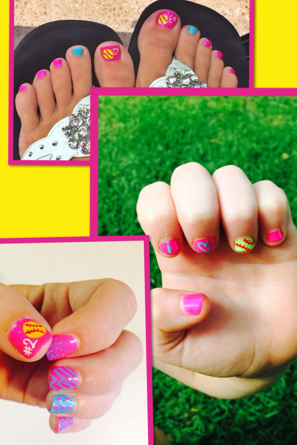 Softballnails Softball Nail Art Designs Nails Pinterest