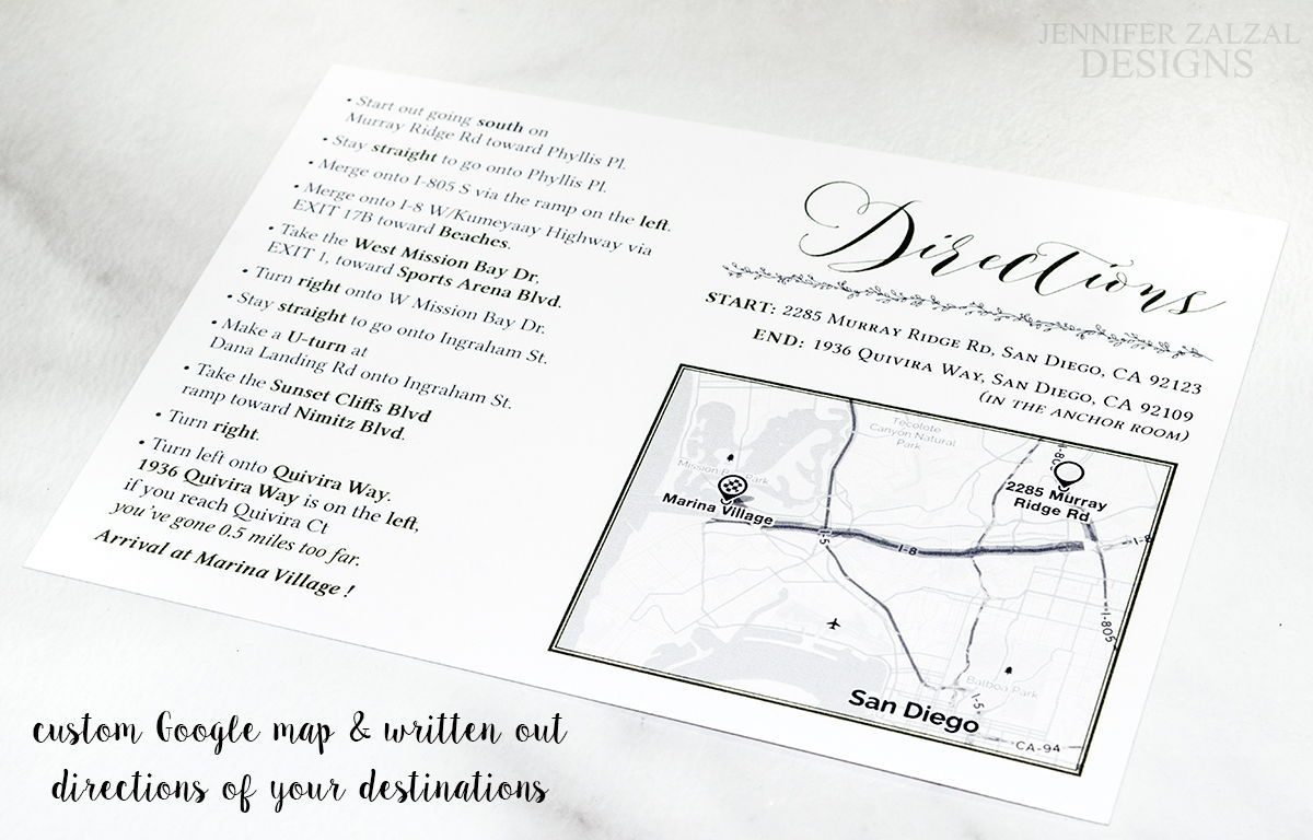 Custom Map Card Reception Directions Personalized