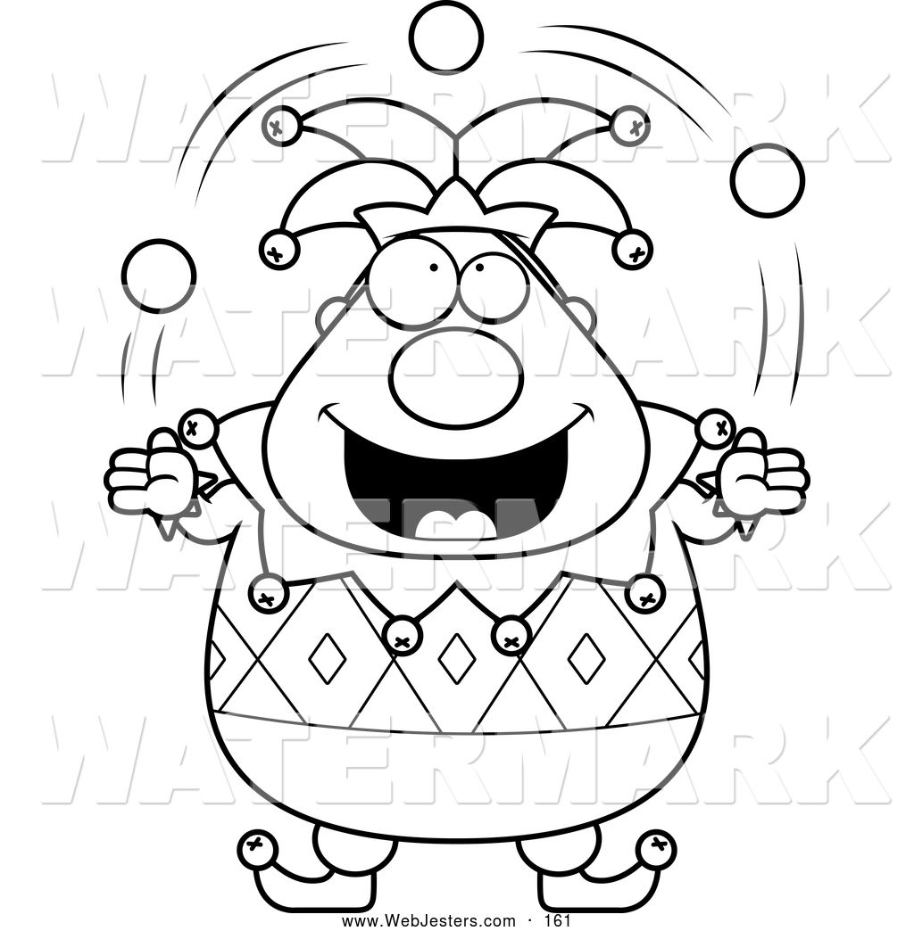 Black And White Coloring Page Of A Pudgy Jester Juggling