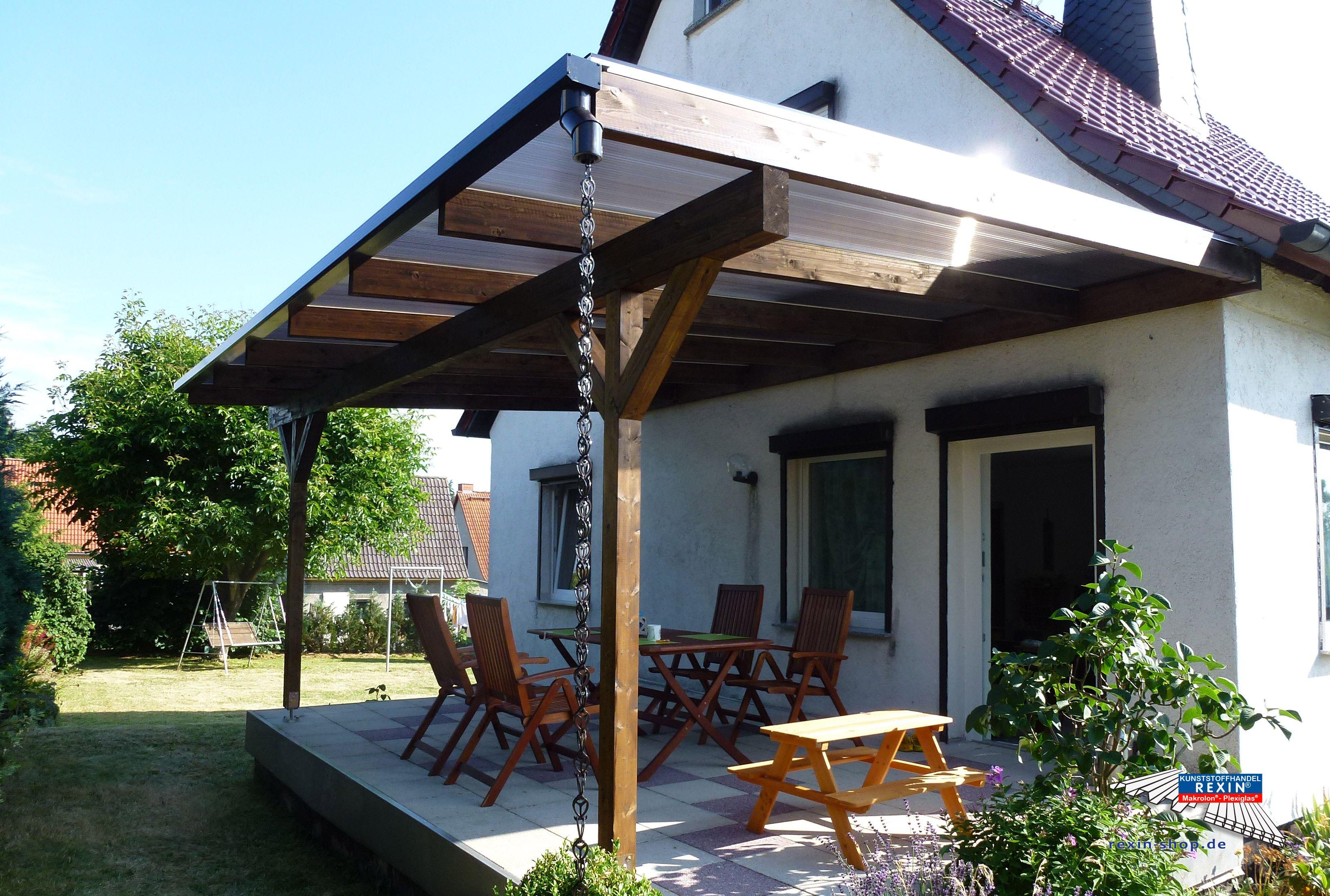 ein holz terrassendach der marke rexocomplete 6m x 4m mit stegplatten in bronze als farbe f. Black Bedroom Furniture Sets. Home Design Ideas