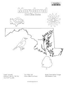 Maryland Coloring Page And State Facts Teaching Squared