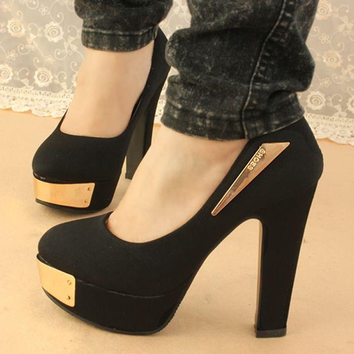 chaussures a gros talon | noir hauts talons pompes à eau mode marine, bleu  chaussures
