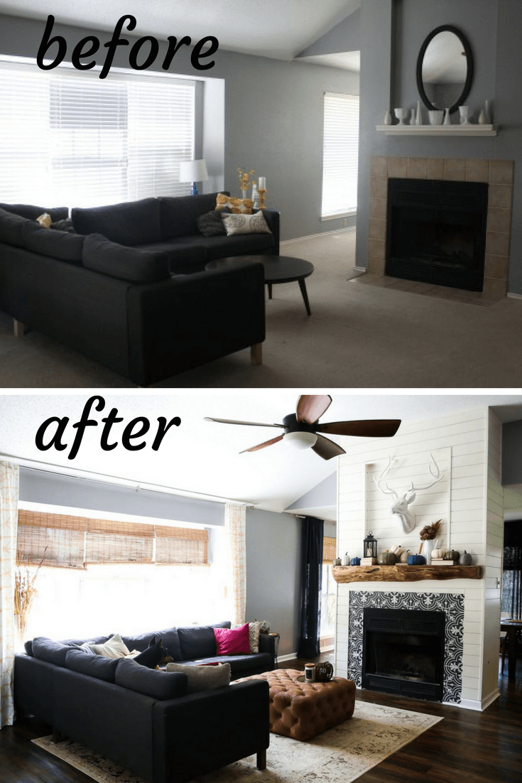 Before And After Living Room Renovation Photos A Gorgeous Transformation With Diy Fireplace