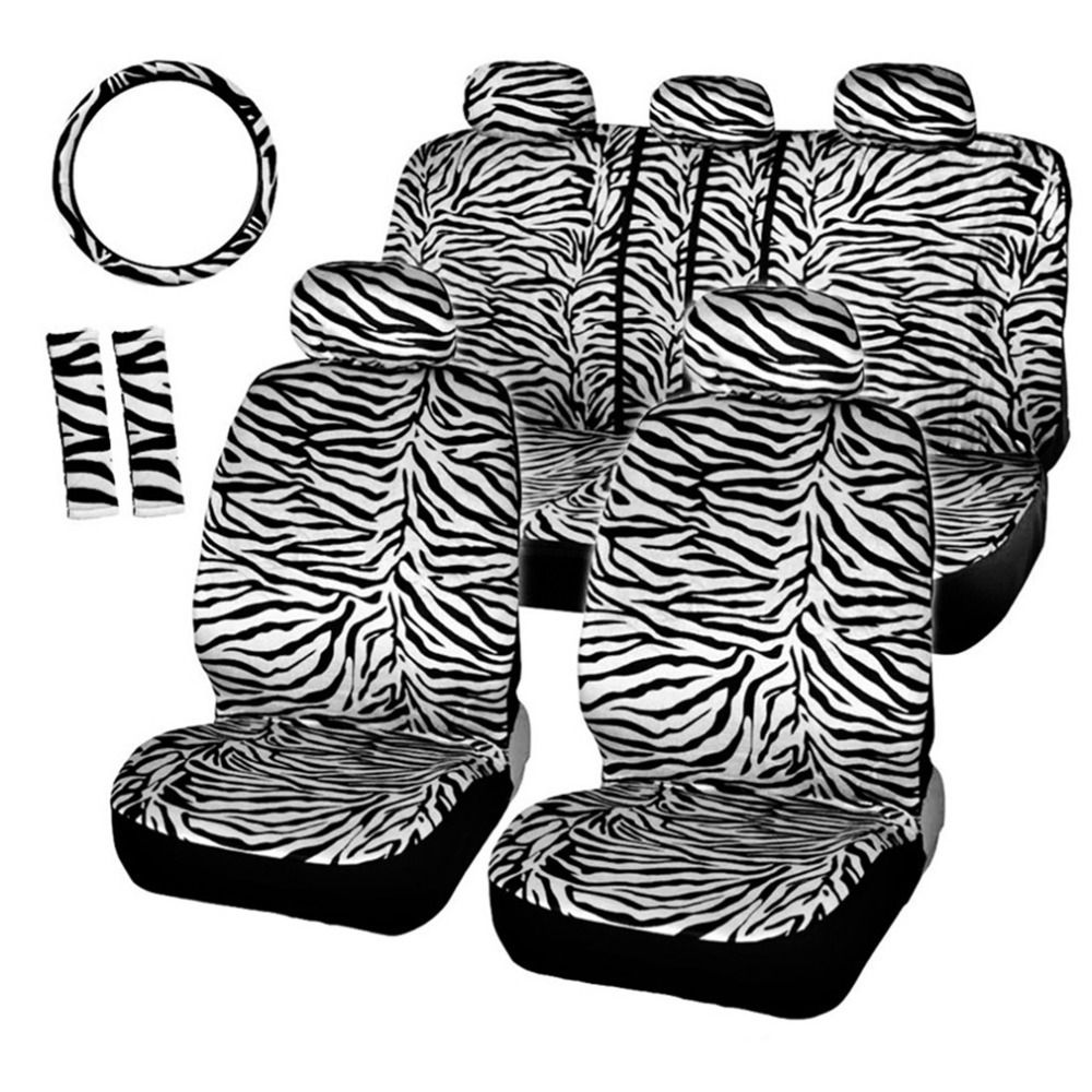 AUTOSON Short Plush Luxury Zebra Car Seat Covers With Steering Wheel Cover Shoulder Pad Universal