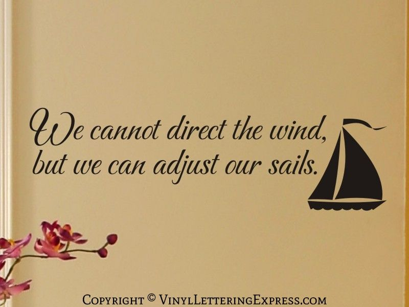 Living Room Vinyl Lettering We cannot direct the wind | Vinyl ...