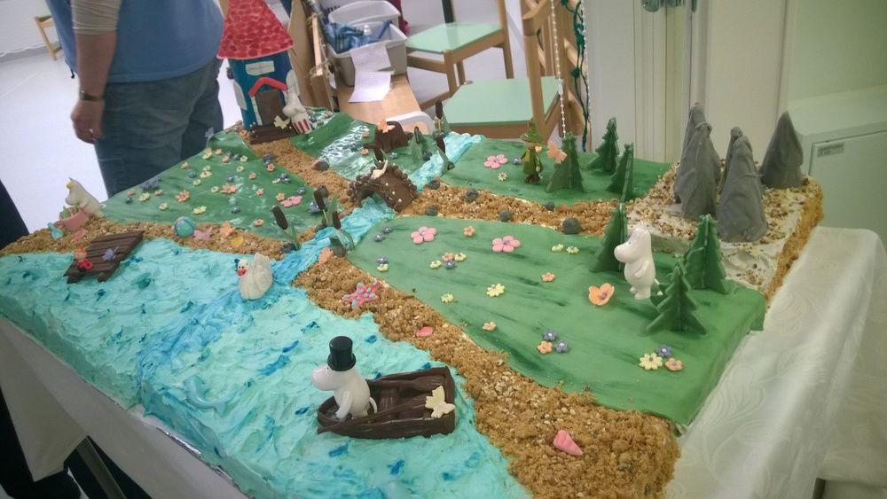 Muumimaailma - Töissäni päiväkodissa vietettiin Tove Jansson 100 vuotis juhlavuoden kunniaksi juhlia.Juhlissa tarjottiin lapsille tätä kakkua :) - Annica - Aina on aihetta leipoa kakku -kilpailun satoa 15.4. - 16.6.2014 https://www.facebook.com/leivojakoristele
