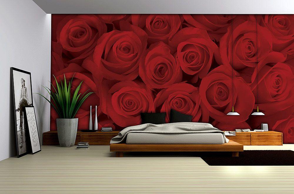 Poster Mural Intisse Xxl Roses Rouges 412 X 254 Cm Met Afbeeldingen