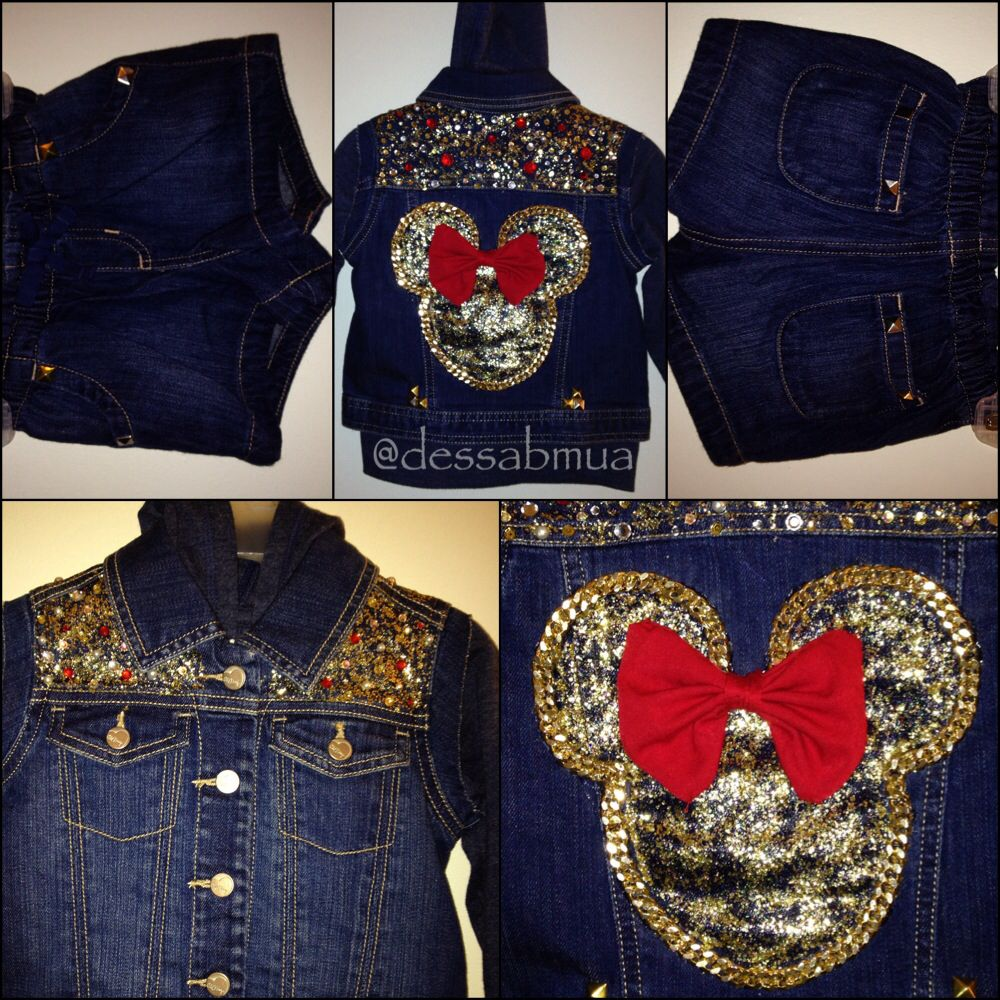 Custom Minnie Mouse Denim Hoodie Jacket Rhinestone Denim Hoodie Jacket Little Girl Fashion Kids Fashion Denim Jacket With Hoodie [ 1000 x 1000 Pixel ]