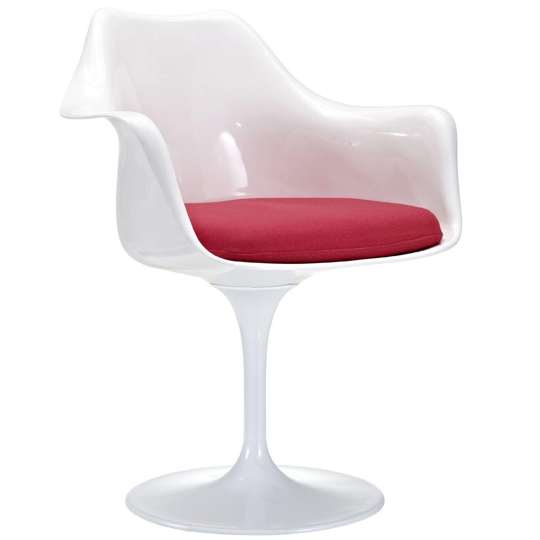 Amazon LexMod Eero Saarinen Style Tulip Armchair with Red