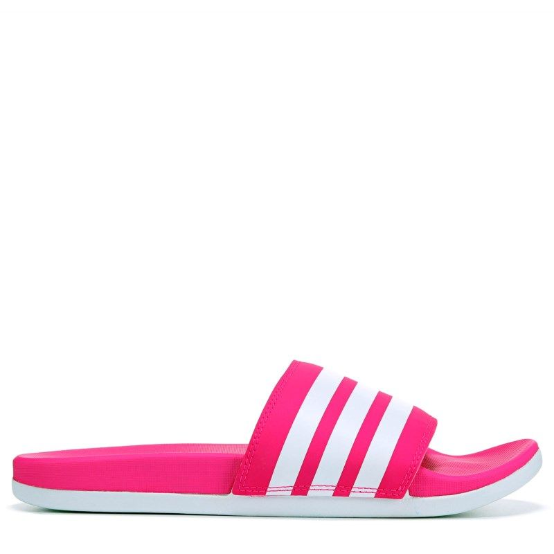 f81bd8e59a51 Adidas Women s Adilette Cloudfoam Stripes Slide Sandals (Shock Pink White)
