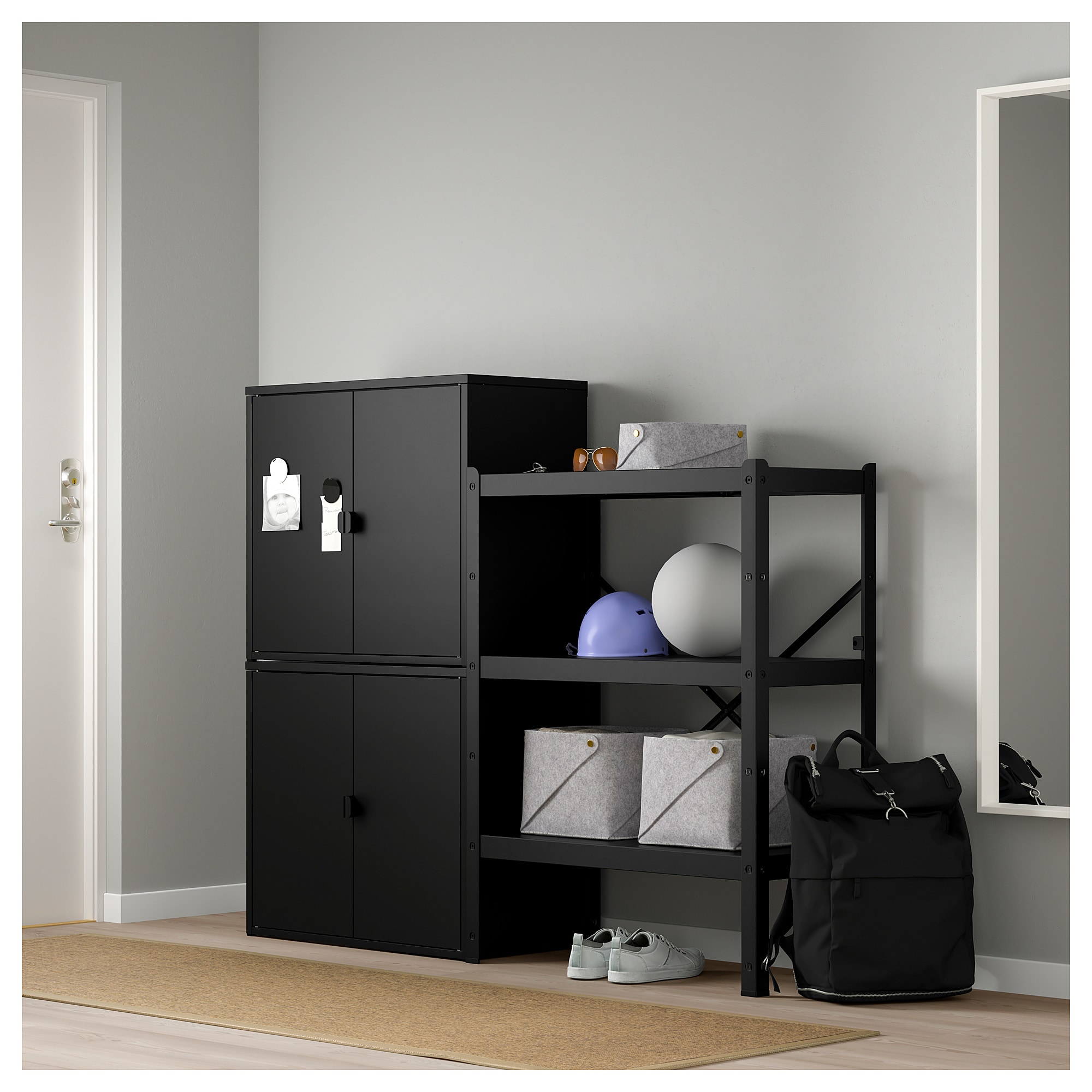Bror Shelving Unit With Cabinets Ikea Shelving Unit Shelving Living Room Shelves