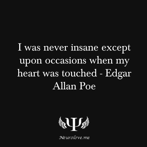 I was never insane except upon occasions when my heart was touched - Edgar Allan Poe