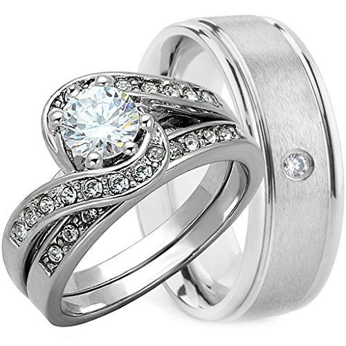 His Hers 3 Piece 925 Sterling Silver Titanium Wedding Ring Set