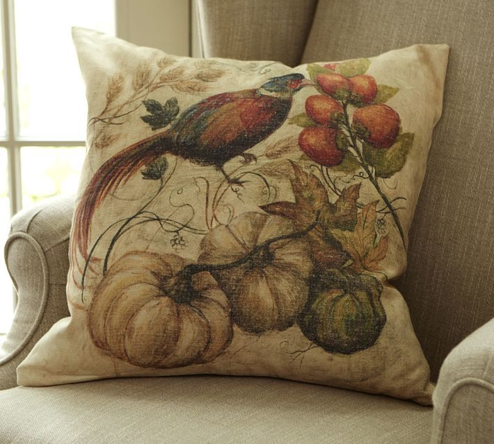 Pottery Barn Painted Pheasant Pillow Cover With each stroke of color, a harvest scene by our ...