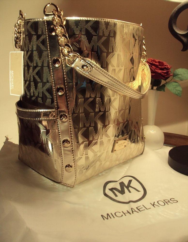 b74128c2151b NWT $498 MICHAEL KORS DELANCY pale gold LARGE SHOULDER TOTE HANDBAG PURSE # MichaelKors #Totes