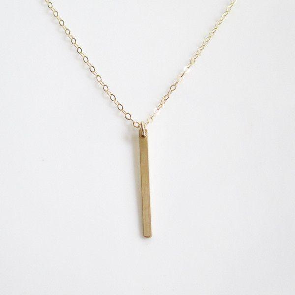 Long Gold Bar Necklace Long Thin Gold Bar Necklace Vertical Gold
