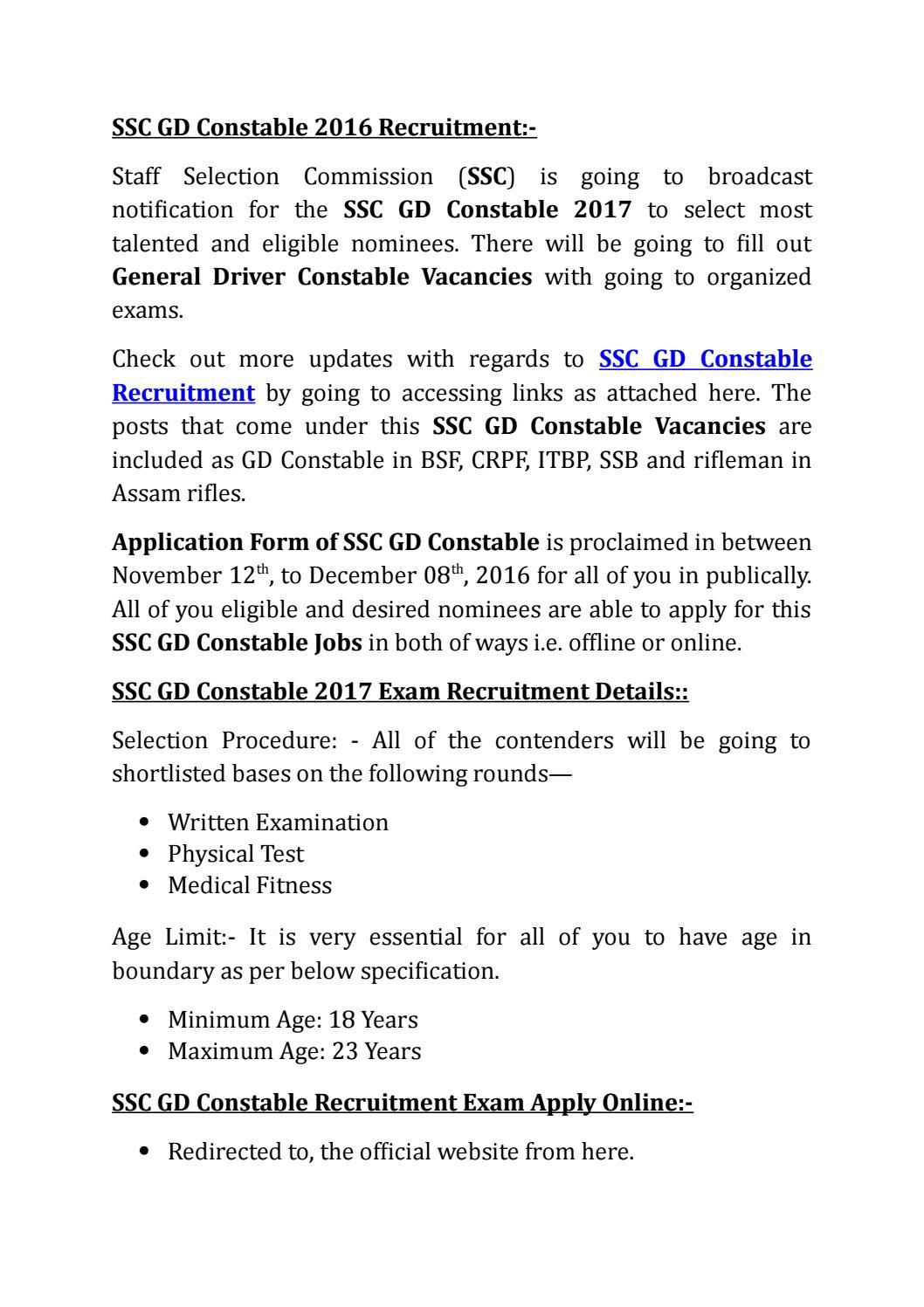 Ssc Gd Constable 2016 Recruitment Recruitment Exam Broadcast