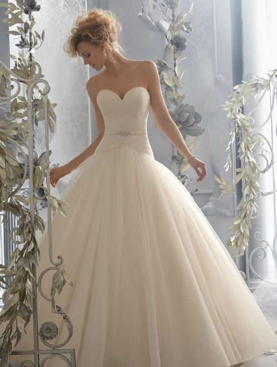Miranda Gorgeous Tulle Ball Gown With Dropped Waist And Beaded