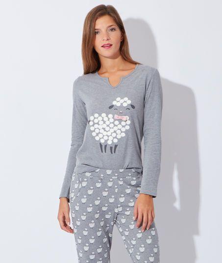 pyjama 3 pi ces veste polaire haut et bas imprim mouton anton gris etam lingerie. Black Bedroom Furniture Sets. Home Design Ideas
