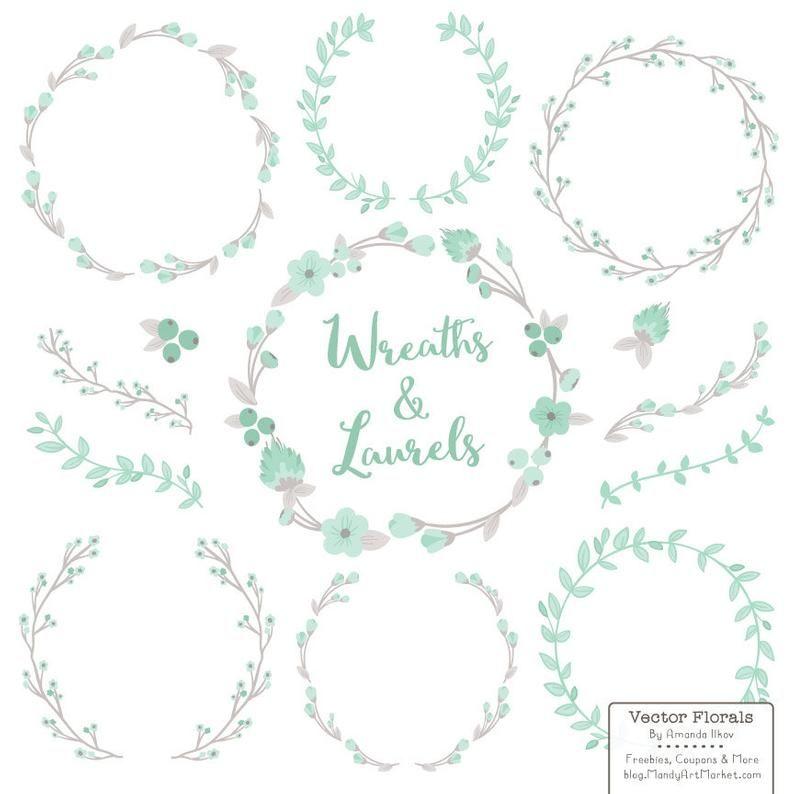 Premium Floral Wreaths & Laurels in Mint  Mint and Peach   Etsy