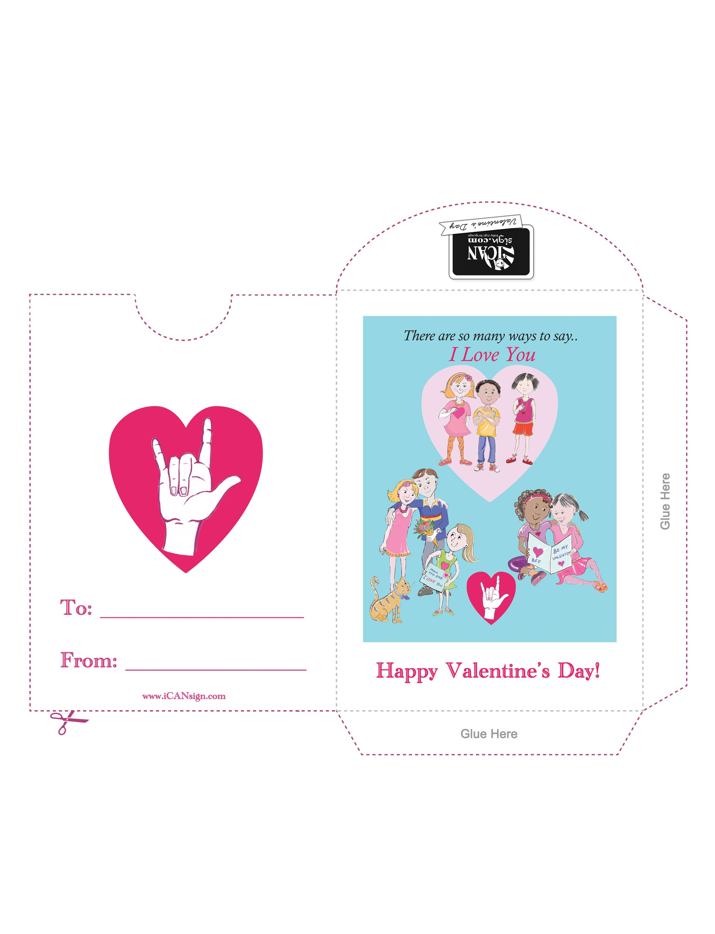 Valentine S Day Free Printable Sign Language Valentines