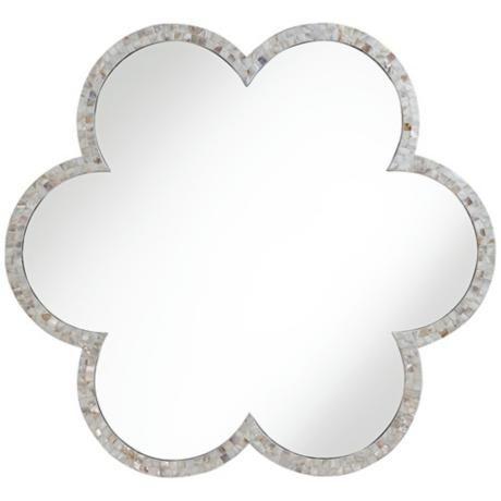 "Adalynn 36 1/2"" Round White Clover Mosaic Wall Mirror - #2R430 | LampsPlus.com"