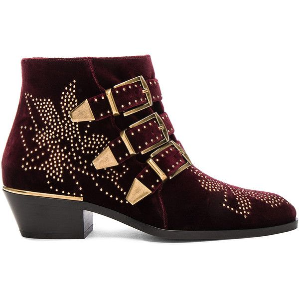 Chloe Velvet Susanna Boots ($1,470) ❤ liked on Polyvore featuring shoes, boots, mid heel boots, side zipper boots, chloe boots, leather sole boots and velvet shoes