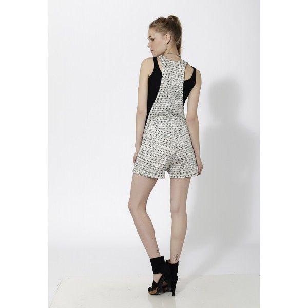 Mono peto corto estampado Blanco - Mauna Barcelona - fashion - moda
