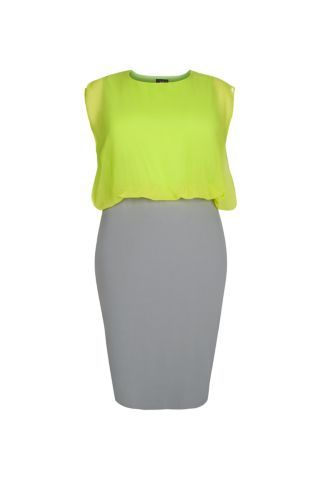 Love that colour - Neon green and grey dress from New Look Inspire plus size line