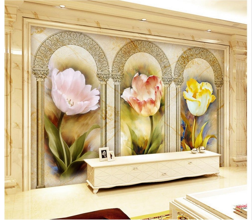 33.00$ Know more - 3d wallpaper Home Decoration European tulip ...