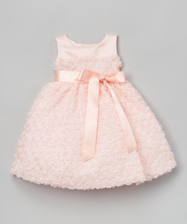 This Peach Chiffon & Tulle A-Line Dress - Toddler & Girls is perfect! #zulilyfinds