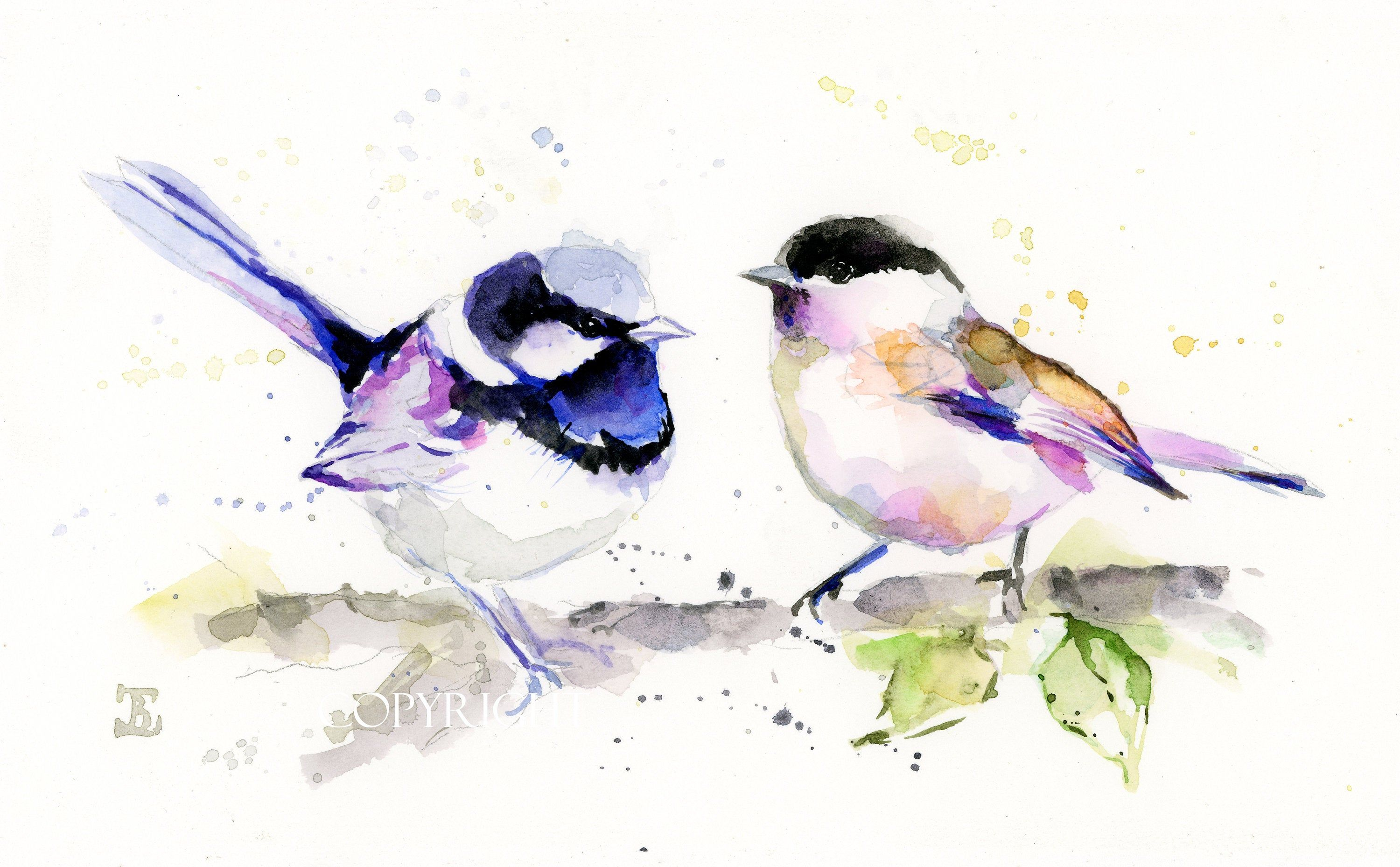 Birds Original Watercolor Painting Colorful Watercolor Art