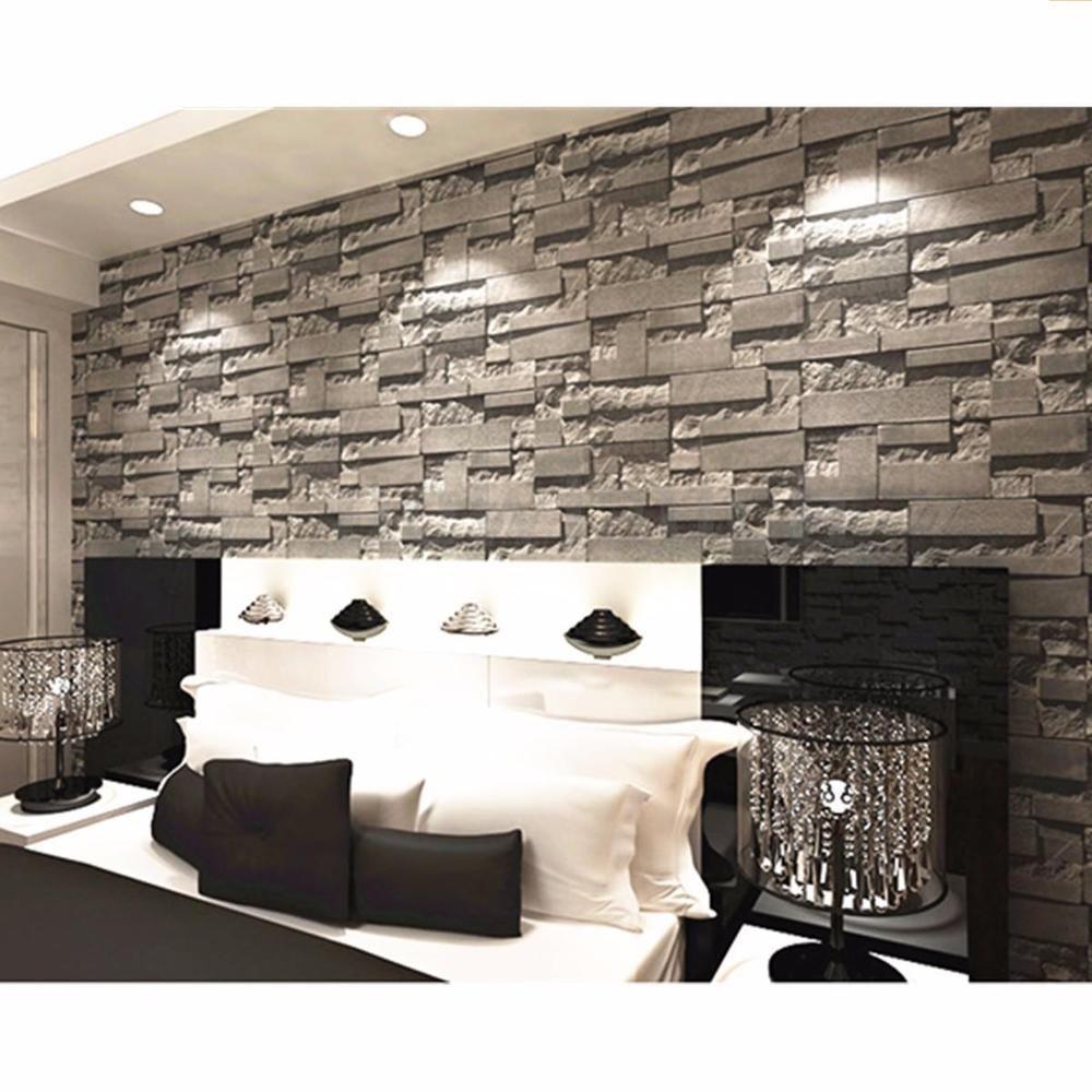 3D Wallpaper Bedroom Mural Modern Stone Brick Wall Paper Background Textured 10M is part of bedroom Wallpaper Modern -