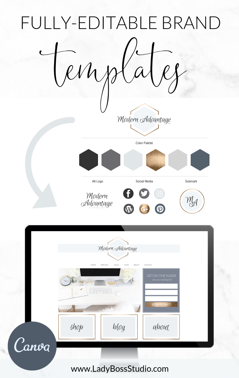 Gold Logo And Brand Templates For Canva Website Branding Logo Diy Branding Template