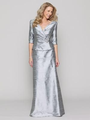 401c2070b4b35 Conservative Mother of the Bride Dress. Silk dupioni two-piece dress with a  ruched jacket and three-quarter-length sleeves by Collection 20 by Watters.