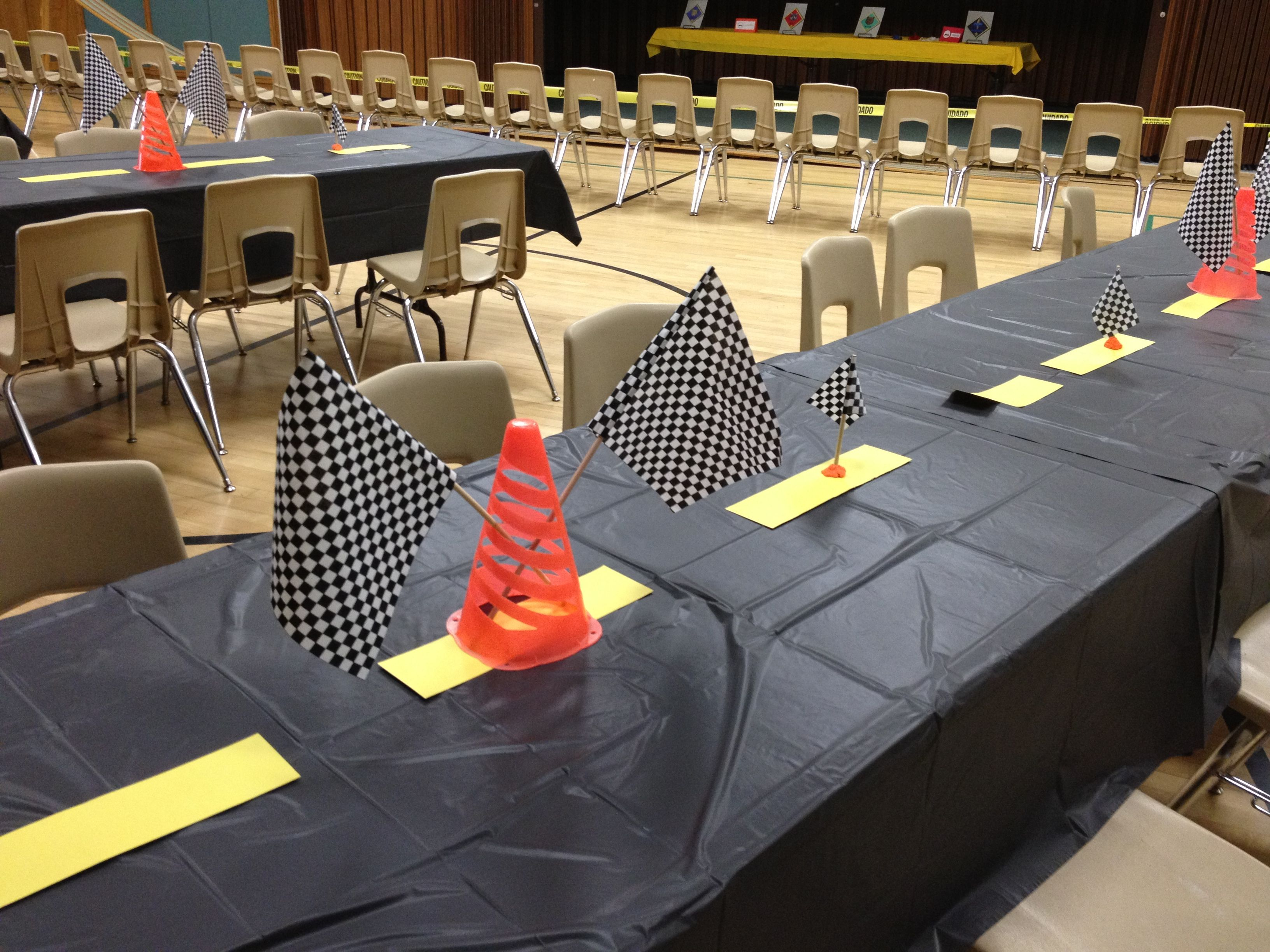 Cars Table Decorations Pinewood Derby Decorations Molly Mormon Pinterest Car Party