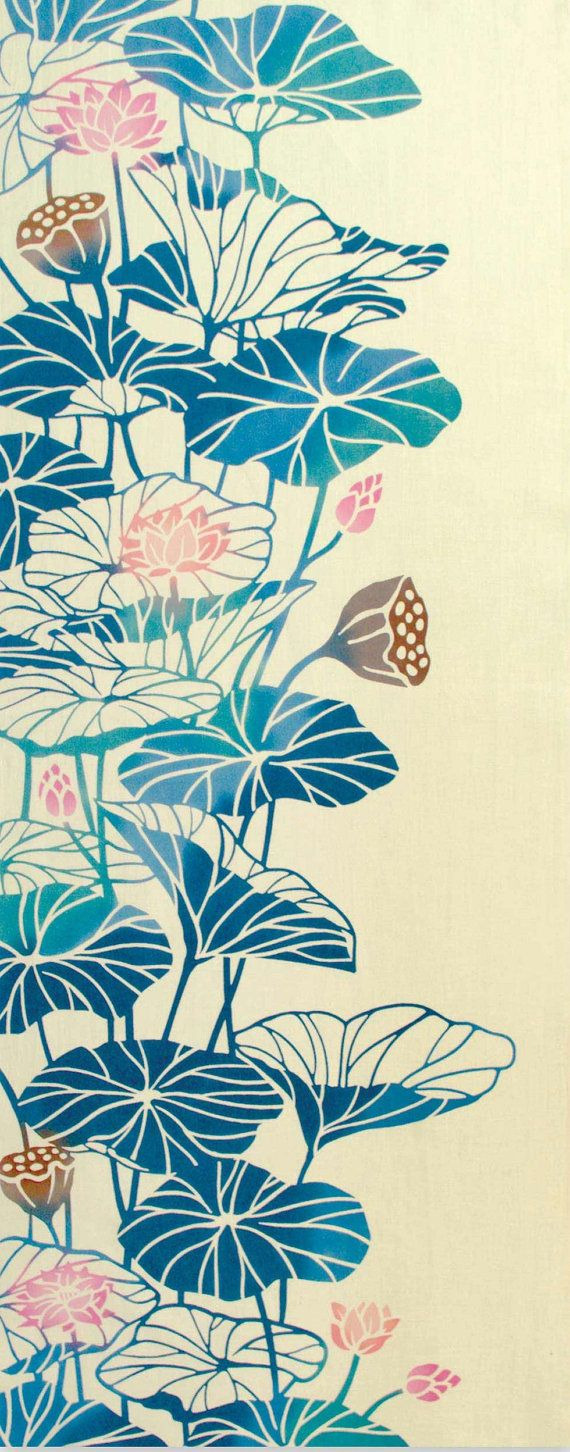 Tapisserie d'art traditionnel japonais, fleur de lotus, cadeau japonais de décor, serviette japonaise de Tenugui, tissu floral teint à la main, décor asiatique à la maison #lotusflower