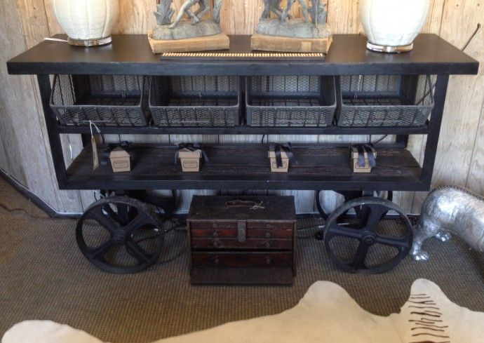 Peddlers Cart Console Table Industrial Console Table Console