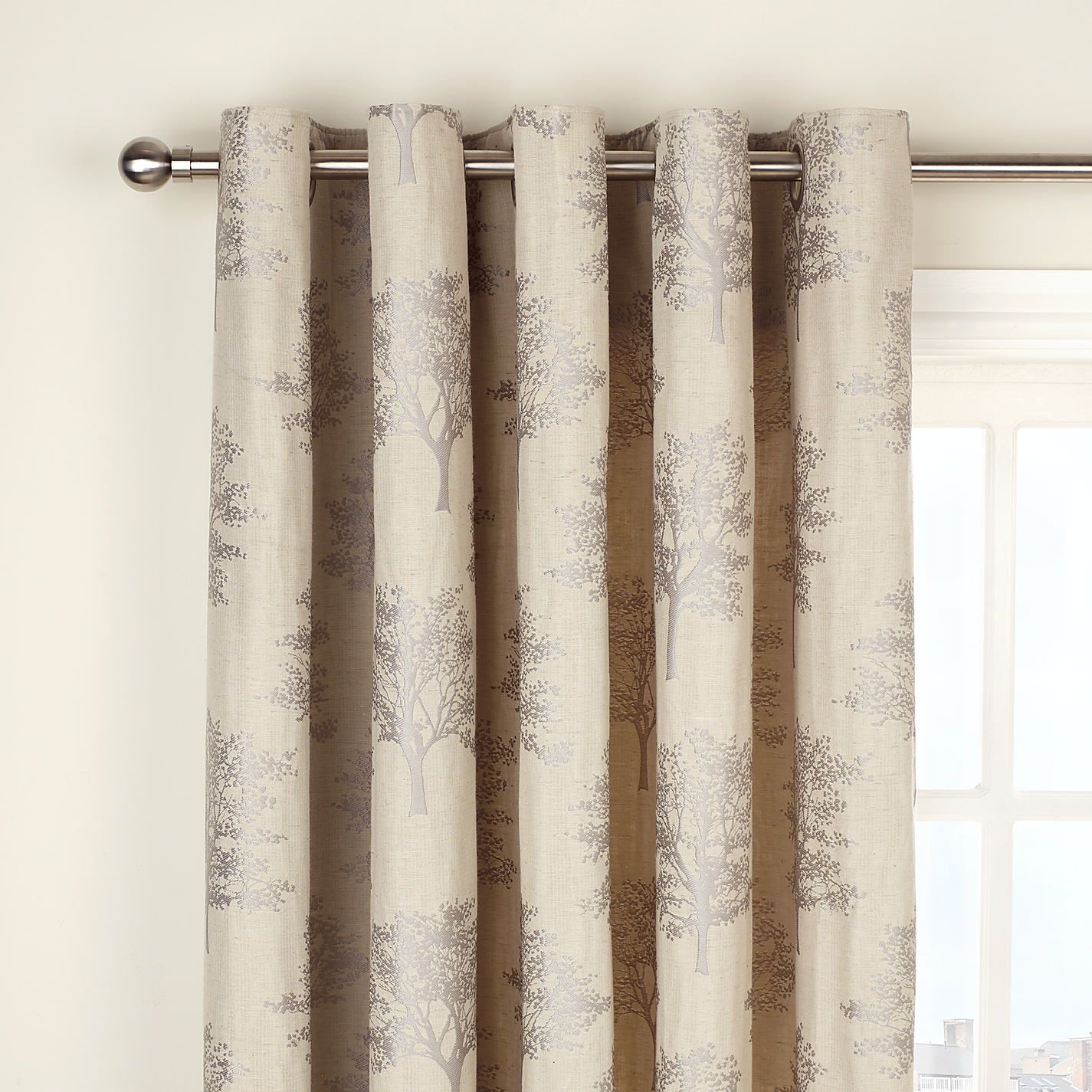 John Lewis Oakley Trees Eyelet Lined Curtains Natural Lounge CurtainsLined CurtainsLiving Room